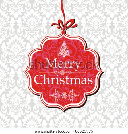 Merry Christmas card. Vector greeting card on a red background with bow - stock vector
