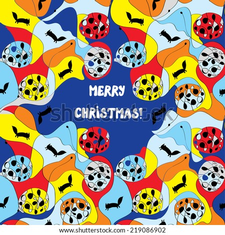 Merry christmas card - whimsical design with pattern - stock vector