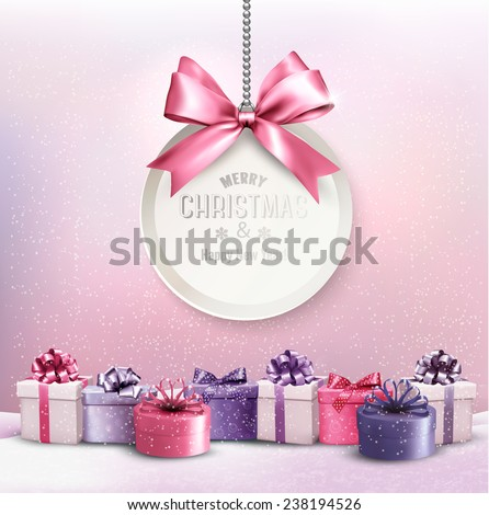 Merry Christmas card with a ribbon and gift boxes. - stock vector