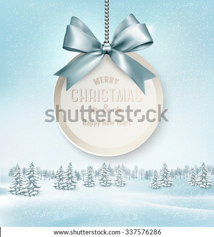 Merry Christmas card with a ribbon and winter landscape. Vector. - stock vector