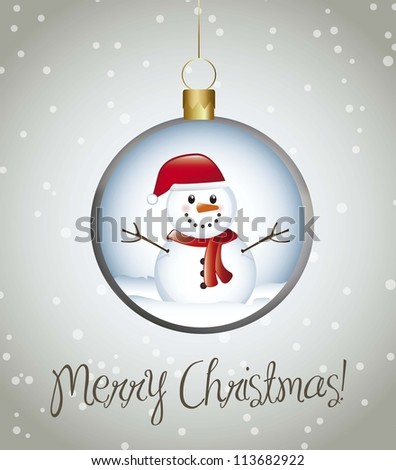 merry christmas card with balls over gray background. vector - stock vector