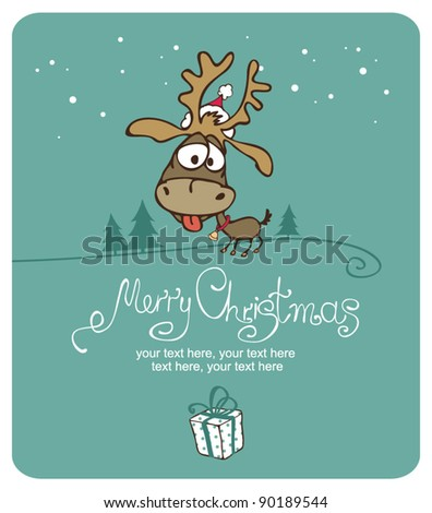 Merry Christmas card with christmas deer - stock vector