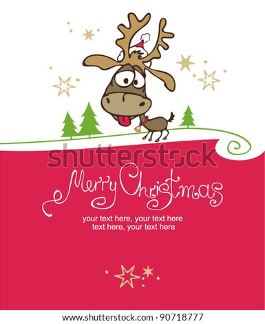 Merry Christmas card with christmas deer - stock vector