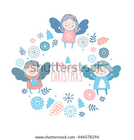 Merry christmas card with cute angels.Bright holiday background  - stock vector