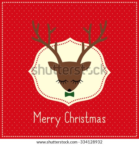 Merry Christmas card with cute deer with bow. Deer head illustration on red polka dots background. - stock vector