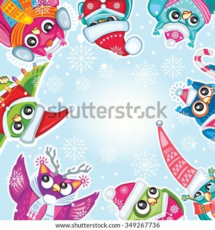 Merry Christmas card with Cute Owls - stock vector