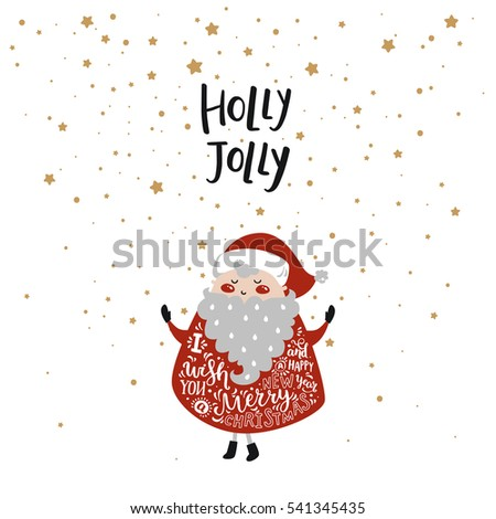 merry christmas card cute santa claus stock vector royalty free