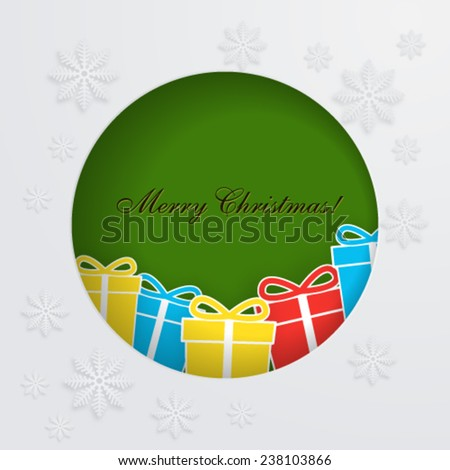 Merry Christmas card  with gift boxes.  - stock vector