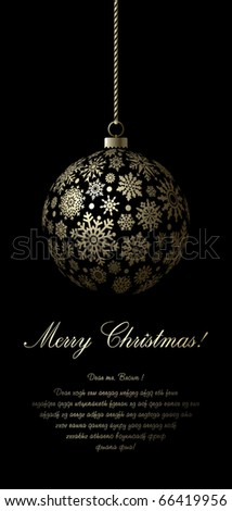 Merry Christmas card with golden ball and space for text. - stock vector