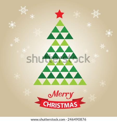 merry christmas card with graphic christmas tree - Christmas Card Tree