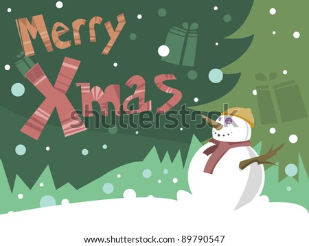 Merry Christmas Card with Happy snowman - stock vector