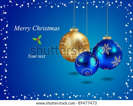 Merry christmas card with realistic ball-vector