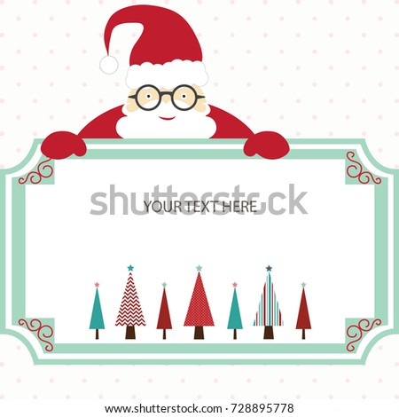 merry christmas card with santa and christmas treechristmas invitationchristmas greeting card