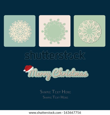 Merry Christmas card with snowflake - stock vector