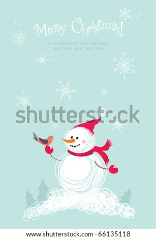 Merry Christmas card with snowman - stock vector