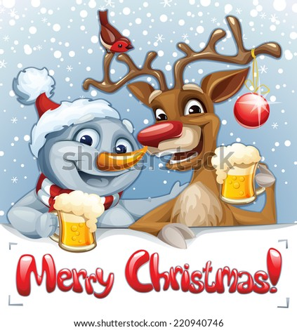 Merry Christmas card with Snowman and Reindeer drinking beer - stock vector