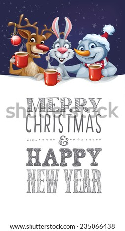 Merry christmas card snowman reindeer rabbit stock vector 235066438 merry christmas card with snowman reindeer and rabbit hot drink m4hsunfo