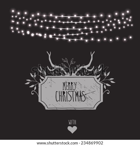 Merry Christmas card with string lights - eps 10 - stock vector