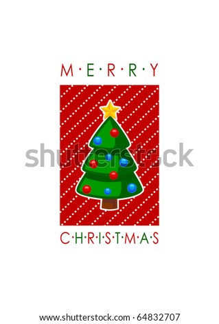 Merry Christmas card with tree