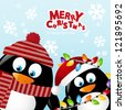 Merry Christmas card with two penguins - stock vector