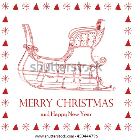 Merry Christmas card with winter sleigh  - stock vector