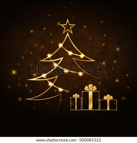 Merry Christmas celebration background, gold Xmas tree. Decorative golden gift box, balls, star. Simple sketch card, greeting. Shine light Happy New Year holiday decoration. Vector illustration