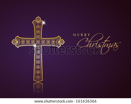 Merry Christmas celebration background with golden Christian Cross on purple background.  - stock vector