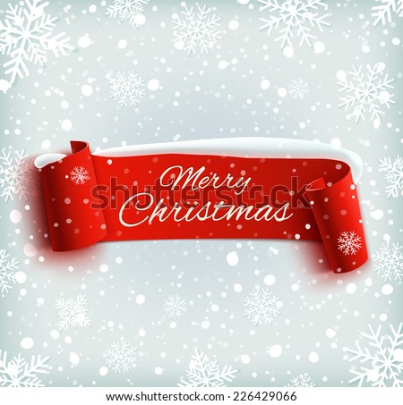 Merry Christmas celebration background with red realistic ribbon banner and snow. Vector illustration - stock vector
