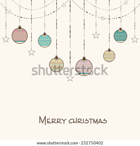 Merry Christmas celebration concept with floral decorated hanging X-mas balls, stars and stylish text. - stock vector