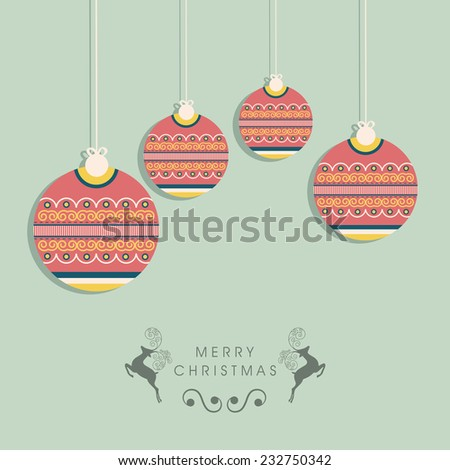 Merry Christmas celebration concept with floral design decorated hanging X-mas balls, reindeer and stylish text. - stock vector