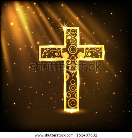 Merry Christmas celebration concept with golden Christian Cross on shiny brown background. - stock vector