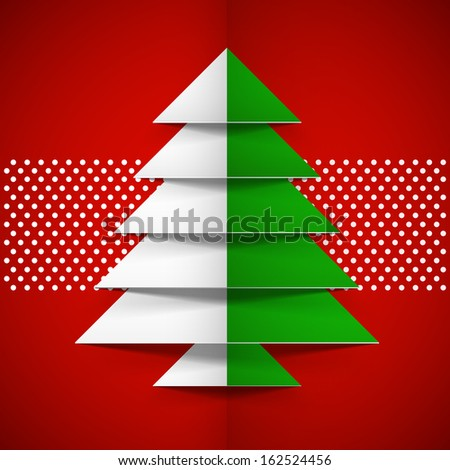 Merry Christmas celebration concept with green and white paper Xmas tree on abstract red background.