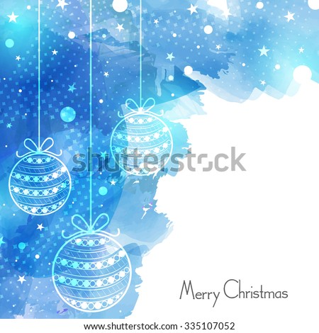 Merry Christmas celebration greeting card design decorated with beautiful hanging Xmas Balls on stylish blue background. - stock vector