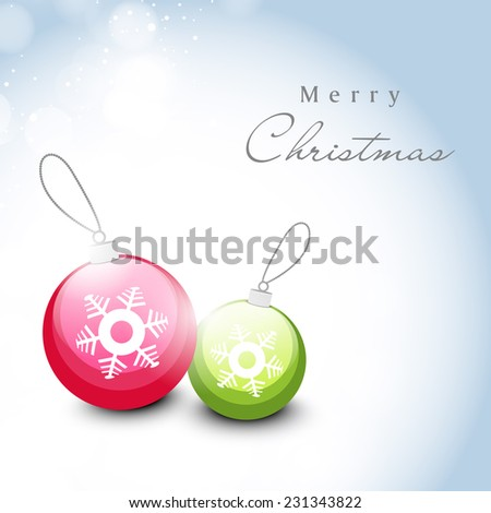 Merry Christmas celebration greeting card design with snowflake decorated colorful X-mas balls on shiny blue background. - stock vector