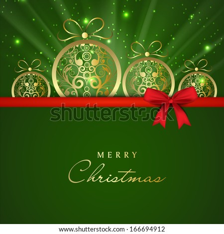 Merry Christmas celebration greeting card or gift card with floral decorated Xmas balls on green background and red ribbon.  - stock vector