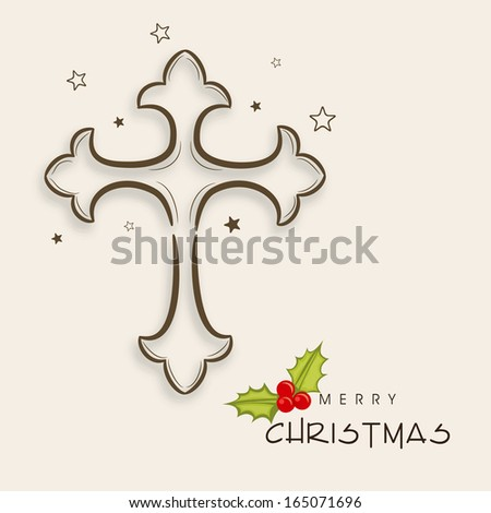 Merry Christmas celebration greeting card or invitation card with Christian cross on abstract background.  - stock vector