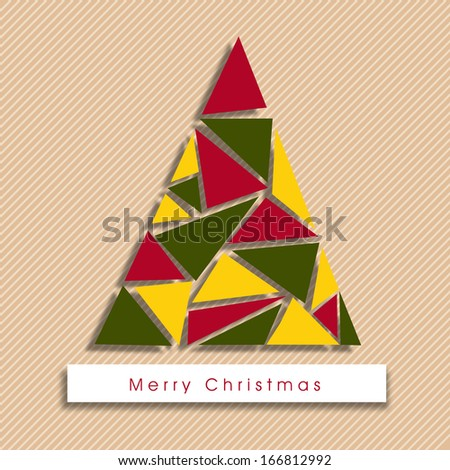 Merry Christmas celebration greeting card or invitation card with colorful Xmas tree on abstract background.