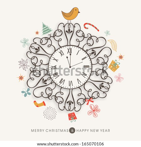 Merry Christmas celebration greeting card or invitation card with floral decorative clock on colorful ornaments background.  - stock vector