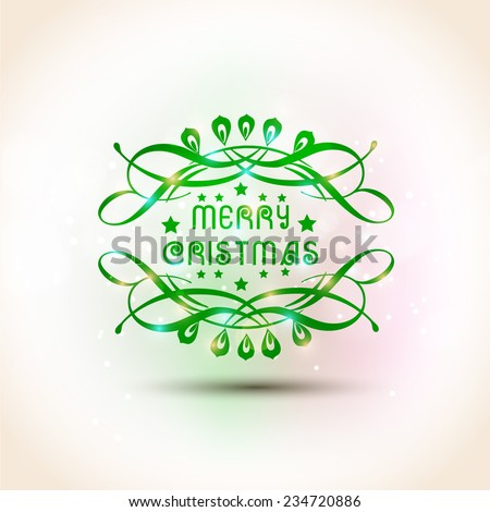 Merry Christmas celebration poster, banner or flyer with beautiful text and floral design on shiny background.