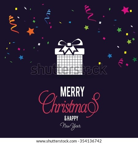 Merry Christmas celebration typography with gift box