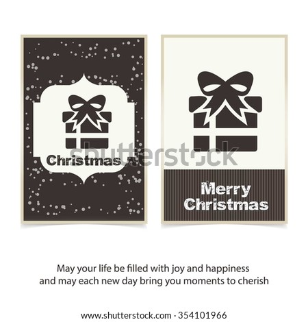 Merry Christmas celebration typography with gift box. Vintage label Front back Greeting card template. Vector brown Icon background illustration