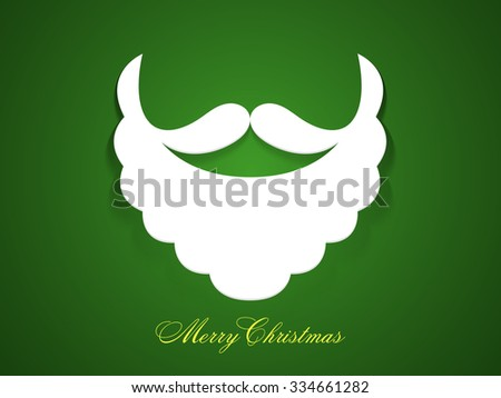 Merry Christmas celebration with creative Santa Claus beard and moustache on glossy green background. - stock vector