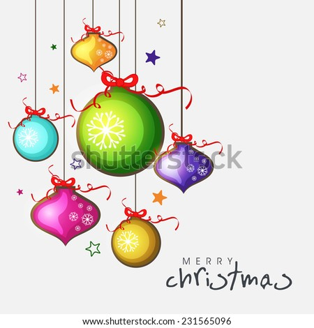 Merry Christmas celebrations greeting card decorated with colorful shiny X-mas balls and stars on grey background. - stock vector