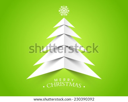 Merry Christmas celebrations with beautiful paper X-mas tree and stylish text on green background. - stock vector