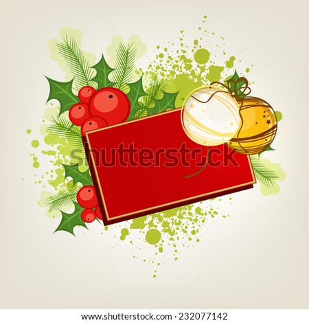 Merry Christmas celebrations with blank postcard and X-mas balls on mistletoe and fir leaves decorated background.   - stock vector