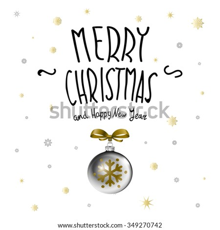 Merry Christmas. Christmas calligraphy. Handwritten modern brush lettering. Hand drawn design elements. art - stock vector