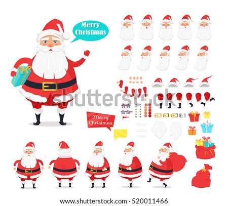Merry Christmas. Collection of Santa Claus icons. Man with present. Various emotions on face. Bended hands, legs. White mustache, beard. Boxes with presents. Front, back, side view of Santa. Vector