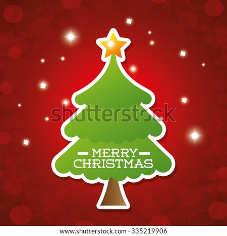 Merry christmas colorful card design, vector illustration graphic