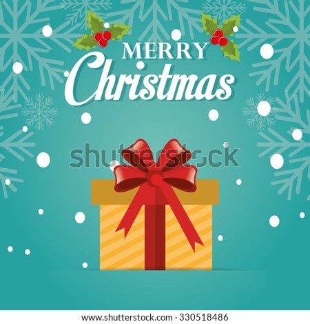 Merry christmas colorful card design with cartoons, vector illustration graphic - stock vector