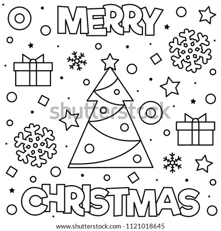 Merry Christmas Coloring Page Black And White Vector Illustration Of Tree Snowflakes